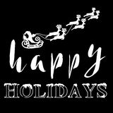 Silhouette Sleigh of Santa Claus and Reindeers. Happy Holidays Lettering. Vector illustration Royalty Free Stock Photo