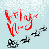 Silhouette Sleigh of Santa Claus and Reindeers. Happy New Year Lettering. EPS10 Stock Image