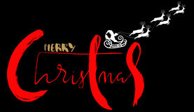 Silhouette Sleigh of Santa Claus and Reindeers. Lettering. EPS8 Stock Photos