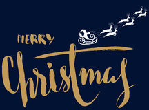 Silhouette Sleigh of Santa Claus and Reindeers. Lettering Stock Photo