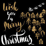 Silhouette Sleigh of Santa Claus and Reindeers. Lettering Stock Image