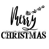 Silhouette Sleigh of Santa Claus and Reindeers. Lettering Royalty Free Stock Images