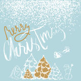 Silhouette Sleigh of Santa Claus and Reindeers. New Year fir. White and Gold Lettering. EPS10 Stock Image