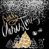 Silhouette Sleigh of Santa Claus and Reindeers. New Year fir. White and Gold Lettering. White confetti. EPS10 Stock Photo