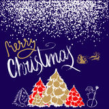 Silhouette Sleigh of Santa Claus and Reindeers. New Year fir. White and Gold Lettering. White confetti. EPS10 Royalty Free Stock Photos