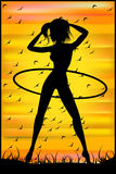 Silhouette of a slender woman doing exercises with hula-hoop Royalty Free Stock Photos