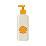 Silhouette with small bottle of sunscreen Royalty Free Stock Image