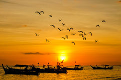 Silhouette Small fishing boat with birds and sunsets Royalty Free Stock Photography
