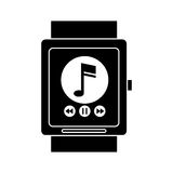 Silhouette smart watch music player app technology Stock Photo