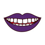 Silhouette smiling lips with teeths and tongue Royalty Free Stock Photos