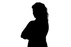 Silhouette of smiling woman Royalty Free Stock Images