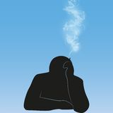 Silhouette smoking person background vector. Black silhouette smoking person background vector illustration Stock Photo