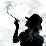Silhouette of smoking woman isolated Royalty Free Stock Photo