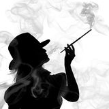 Silhouette of smoking woman isolated on a white ba Royalty Free Stock Photos