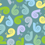Silhouette  snail with spiral shell. Vector seamless texture. Stock Photo