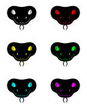Silhouette of snake head in six colors. Vector black head snake Stock Images