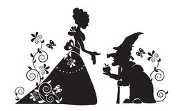 The silhouette of Snow white and the evil witch. Black and white simplified drawing. A scene from the tale. Snow White and the seven dwarfs Stock Image