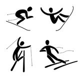 Silhouette of snowboard, snowboarder Alpine downhill skier  illustration. Stock Images