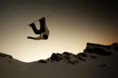 Silhouette Snowboarder jumping Royalty Free Stock Image