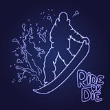 Silhouette of a snowboarder jumping isolated. Background and text on a separate layer, color can be changed in one click. Neon effect Royalty Free Stock Image