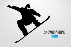 Silhouette of a snowboarder jumping isolated. Vector illustration. Silhouette of a snowboarder jumping isolated. Background and text on a separate layer, color Royalty Free Stock Photography