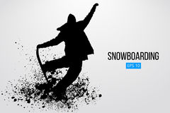Silhouette of a snowboarder jumping isolated. Vector illustration Royalty Free Stock Photo