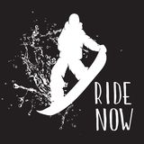 Silhouette of a snowboarder jumping isolated. Vector silhouette of a snowboarder with spray of snow. Silhouette of a snowboarder jumping isolated. Background and Royalty Free Stock Image
