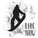 Silhouette of a snowboarder jumping isolated. Vector silhouette of a snowboarder with spray of snow. Silhouette of a snowboarder jumping isolated. Background and Stock Photos