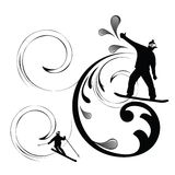 Silhouette of snowboarder and skier. With coils for movement Stock Photo