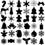 Silhouette of Snowflake Christmas Festival symbol Royalty Free Stock Images