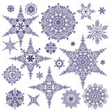 Silhouette Snowflakes set. Winter Vector doodles Stock Photo