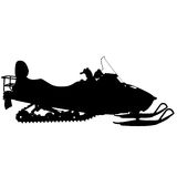 Silhouette snowmobile  on white background. Vector illustration Stock Images