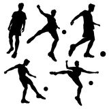 Silhouette of Soccer football player Royalty Free Stock Photography