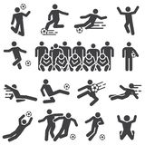 Soccer and football players action solid icons set stock illustration