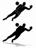 Silhouette of soccer goalie, vector draw. Isolated illustration soccer goalie , black and white drawing, white background Royalty Free Stock Images
