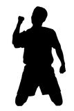Silhouette of a soccer player stock illustration