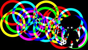 Silhouette soccer player on background of colorful rings. clipping path. Soccer player with bright blue eyes, playing with ball. silhouette with clipping path on vector illustration