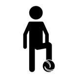 Silhouette soccer player football uniform Stock Photo