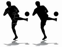 Silhouette of soccer player, vector draw Royalty Free Stock Images