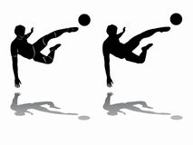 Silhouette of soccer player, vector draw stock photos