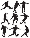 Silhouette soccer players. Different silhouettes soccer player with ball Royalty Free Stock Photo