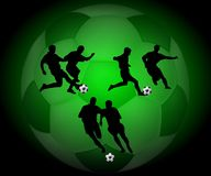 Silhouette soccer players. Three pair of silhouette soccer players, against a large green toned soccer ball Stock Photos