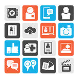 Silhouette Social media, network and internet icons Royalty Free Stock Image