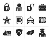 Silhouette social security and police icons stock illustration
