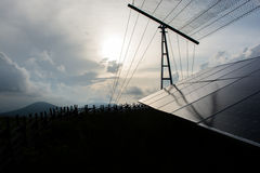 Silhouette of Solar Panels Royalty Free Stock Photo