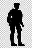 Silhouette of Soldier, Low Angle Perspective, at Transparent Effect Background Stock Photography