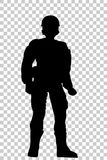 Silhouette of Soldier, Low Angle Perspective, at Transparent Effect Background Stock Photos