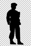 Silhouette of Soldier, Low Angle Perspective, at Transparent Effect Background Stock Images