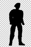 Silhouette of Soldier, Low Angle Perspective, at Transparent Effect Background Stock Image