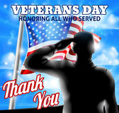 Silhouette Soldier Saluting American Flag Veterans Day Design. A Veterans Day design of a  silhouette saluting soldier and American Flag waving on a flagpole Stock Image